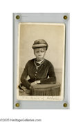 "Antiques:Black Americana, ""The Maid of Athens"" A CDV portrait of a black woman seated,donning a fine hat. Hand-titled at bottom ""The Maid of Athens""...."