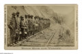 Antiques:Black Americana, Chain Gang on the Railroad in North Carolina. A stunning andwell-known photograph showing mostly black prisoners, in horizo...