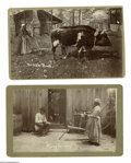 """Antiques:Black Americana, Four Mounted Albumens of Black Rural Life. An excellent set of four(4) mounted albumen photos, 5.25"""" x 8.5"""". Three are publ... (Total:4 )"""