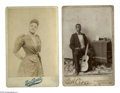 Antiques:Black Americana, Two Cabinet Cards of Blacks in Show Business. A fine pair ofimages, one of a guitar player posing with his instrument and a...(Total: 2 )