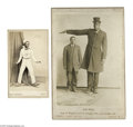 Antiques:Black Americana, Interesting Pair of Black Showpeople. The cabinet card pictures Geo. Bell who at age 23 was 8 feet 2 inches, weighing 350 po...
