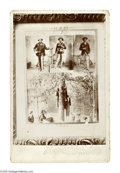 Photography:Cabinet Photos, Lynching of Three Blacks Cabinet Card Photo. Public lynchings were used after the Civil War as a way of enforcing white poli...