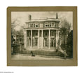 """Antiques:Black Americana, Black Man with Dog in Front of a House. A partially mountedphotograph, 10"""" x 7.5"""" (11"""" x 10"""" overall), of a black man stand..."""
