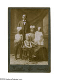 "Antiques:Black Americana, Cabinet Card of ""Piebald"" Subjects A fascinating cabinet cardshowing four people: a woman and three children who all bear t..."
