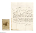 """Antiques:Black Americana, CDV of Emancipated Slave Children with Explanatory Letter. An unusual CDV accompanied by an even more unusual letter, 8"""" x 1... (Total: 2 )"""