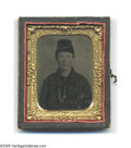 "Photography:Tintypes, Cased 1/9th Plate Ferrotype of Pvt. John Webb Handsome Civil Warera portrait of this young soldier from ""B"" Company of the ..."
