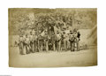 Military & Patriotic:Civil War, Large Civil War Albumen Photograph of the 8th NY Militia at their Arlington Heights camp in 1861. The fall of Fort Sumter on...