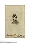 """Autographs:Military Figures, Rare John S. Platner CDV Signed """"Fraternally yours, J. S. Platner, Maj. 33rd NYV."""" being the only known signed portrait ..."""