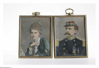 Grand Army of the Republic Soldier and Wife Portraits on Porcelain. Most people do not associate porcelain with portrait...