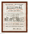 Advertising:Paper Items, Very Graphic 1850 Advertising Poster Insert From Baltimore WithImage of Early Steam Locomotive. Great display appeal in thi...