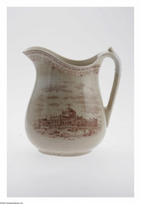 Ironstone Centennial Exposition Pitcher and Bowl Set depicting the buildings that were the major attractions to this 187...