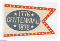 Antiques:Textiles, Fine 1876 Centennial Cloth Banner. A nice companion piece to the similarly designed Hayes & Tilden banners from the 1876 cam...