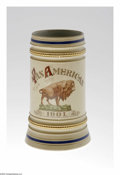 General Historic Events:Expos, Impressive 1901 Pan American Expo Tankard Ornately embellished with an exquisitely painted buffalo, the mascot of the Pan Am...