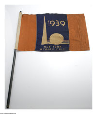 Very Scarce, Large 1939 New York World's Fair Flag on Original Pole. One of the more desirable collectors items from thi...