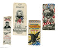 Antiques:Textiles, Three Vintage Silk Ribbons in the Stevengraph Style, one of which commemorates the Columbian Exposition in 1893. It is clean... (Total: 3 )