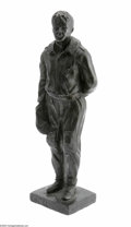 Transportation:Aviation, Massive, Solid Bronze Signed Statue of Charles Lindbergh. A beautifully executed sculpture of Lindbergh in his flight suit, ...
