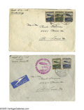 Transportation:Aviation, Two Scarce Postally-Used 1936 Envelopes From the Doomed Zeppelin, The Hindenburg. Very scarce and desirable, both to postal ...