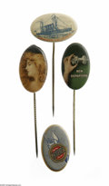 Advertising:Pocket Mirrors & Pinbacks, Colorful Group of Advertising Stickpins The nature of this type ofpin is to become damaged easily but this group is in exce...