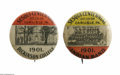 Advertising:Pocket Mirrors & Pinbacks, Carlisle Indian School Band 1901 and Dickinson College pictured on two celluloid novelty pins distributed for the sesqui-cen...