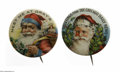 Advertising:Pocket Mirrors & Pinbacks, Mint Condition Santa Pins These two classic advertising pins,picture a vintage Santa with deep red suit in Christmas type s...