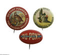 Advertising:Pocket Mirrors & Pinbacks, Dupont and Dead Shot Ammo Pins in a lot of 3 different versions.All are in excellent condition with the Dead Shot and Dupon...