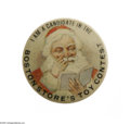 Advertising:Pocket Mirrors & Pinbacks, Boston Store Santa Pinback Button A very unusual design and a rarevariety, Santa is pictured here in muted tones looking at...