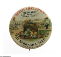 The Nebraska Seed Co. Advertising Pin is often thought of as one of the key buttons for an advertising pin collection. I...