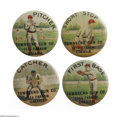 Advertising:Pocket Mirrors & Pinbacks, Townsend Gun Company Advertising Baseball Pin Set depicts a graphic catcher, short stop, pitcher, and first baseman in full ...