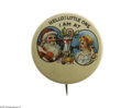 Advertising:Pocket Mirrors & Pinbacks, Colorful Santa Calling Girl Advertising Pin in excellent to near mint condition, was made by Bastian Bro. Novelty. This pin ...