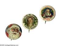 "Impressive Grouping of Santa Advertising 1 1/4"" celluloid pins each picturing a full color St. Nick. All three are..."