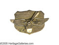 Transportation:Aviation, USA School of Photo Reconnaissance Pin in 10k gold. The school was housed at Langley Field and bears wings and a propeller b...