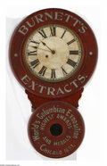 Advertising:Signs, Impressive Advertising Clock for Burnett's Extract is circa 1893with cabinet and works made by the Baird Clock Co. Plattsbu...