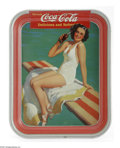 Advertising:Soda Items, 1939 Coca-Cola Serving Tray Girl on Spring Board. Classic 1939 look, showing a girl, in a bathing suit, drinking a bottle of...