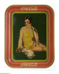 Advertising:Soda Items, Girl in Swim Suit 1939 Coca-Cola Tray. This Coca-Cola tray, produced to advertise fountain sales, pictures a girl in a yello...