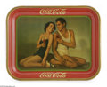Advertising:Soda Items, Drink Coca-Cola Original Johnny Weissmuller Tray dated 1934 andfeaturing the Tarzan movie stars Maureen O'Sullivan and John...