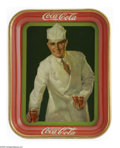 "Advertising:Soda Items, Coca-Cola's 1927 Soda Jerk Tray. Although the term ""soda jerk"" wasnot used until later, this 1927 promotional tray, distrib..."