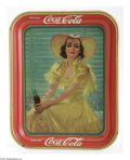 "Advertising:Soda Items, American Art Works 1938 Coca-Cola Tray. Coca-Cola pictured thismodel in what was referred to in fashion as the ""afternoon d..."