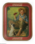 Advertising:Soda Items, 1931 Boy and Dog Coca-Cola Tray. Known as the Rockwell tray by most collectors, this scene is a classic Huck Finn type boy w...