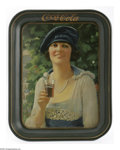 Advertising:Soda Items, Autumn Girl Coca-Cola Tray. This 20s model was used to promoteCoca-Cola at the fountain and was also featured on the 1922 c...