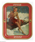 "Advertising:Soda Items, 1941 Skater Girl Coca-Cola Tray made by the American Art Works inCoshocton, Ohio. The 10.5"" x 13.25"" serving tray pictures ..."