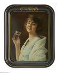 Advertising:Soda Items, 1923 Flapper Girl Coca Cola Serving Tray in near mint condition.Promoting fountain service was the objective of this tray p...