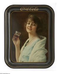 1923 Flapper Girl Coca Cola Serving Tray in near mint condition. Promoting fountain service was the objective of this tr...