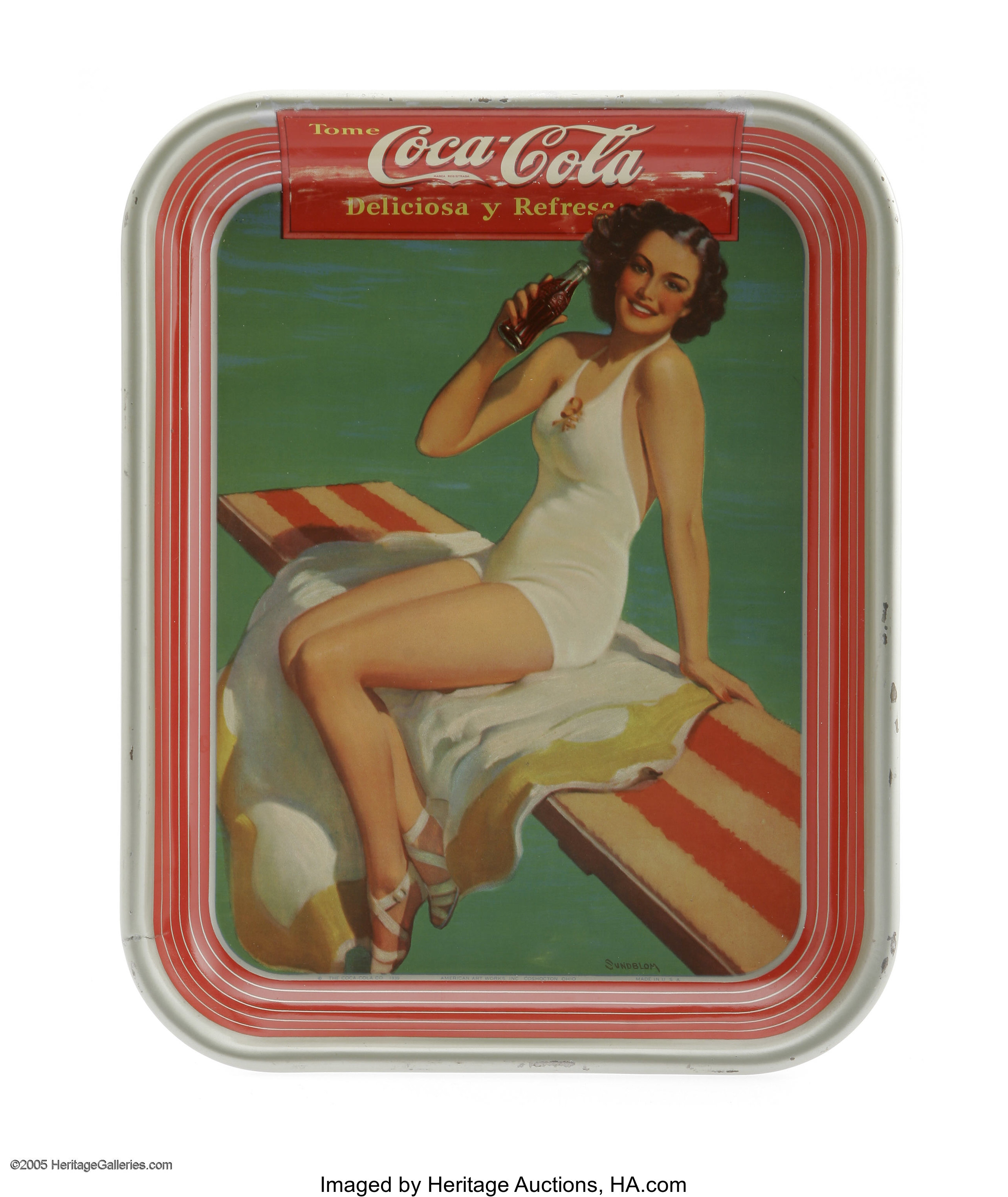 Pair of Swimsuit Coca-Cola Trays picturing a pool scene and a beach
