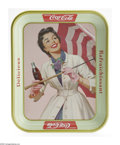 Advertising:Soda Items, Coca-Cola Tray Girl with Umbrella. This serving tray is the 1950s French version and is in mint condition. The tray's design...