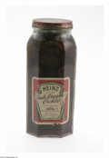 Advertising:Display Jars, Heinz Fresh Cucumber Pickles Labeled Jar with the original product. This 1 pt. 8 liquid oz. round-to-octagonal decorative ja...