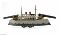 Antiques:Toys, Dayton Friction Battleship Toy with two cannon turrets and a flywheel drive mechanism. This toy was probably made between 18...
