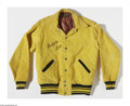 "Entertainment Collectibles:TV & Radio, Buffalo Bob Says Howdy Doody For President reads the embroideringon the back of this 1948 yellow corduroy jacket with ""Buff..."