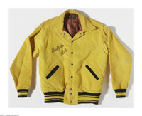 Buffalo Bob Says Howdy Doody For President reads the embroidering on the back of this 1948 yellow corduroy jacket with &...