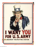 """Military & Patriotic:WWI, I Want You! 40""""x 30"""" Artist: James Montgomery Flagg. Printed forthe United States Army. We're proud to offer possibly the..."""