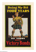 """Military & Patriotic:WWI, Doing My Bit 36"""" x 26"""" Artist: unsigned. A Canadian posterpromoting the purchase of Victory Bonds. Victory Bonds in Canada..."""